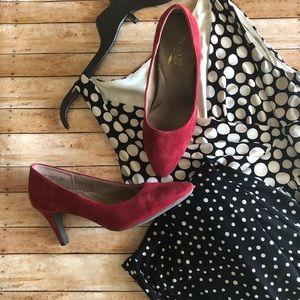 Chaps Black and White Polka Dot Ombré Dress